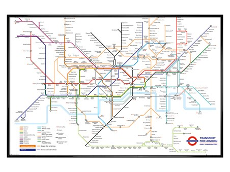 Gloss Black Framed Underground Map, Transport For London