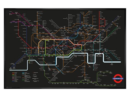 Framed Gloss Black Framed Rainbow Network - Transport For London