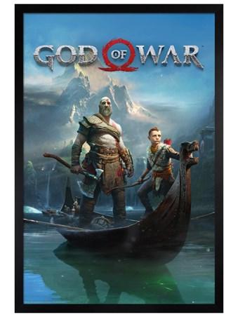 Framed Black Wooden Framed To Lands Unknown - God Of War
