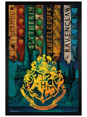 Black Wooden Framed House Flags - Harry Potter