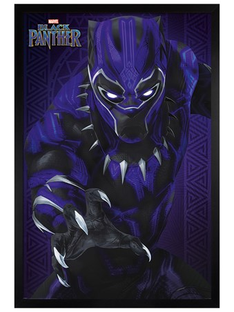 Black Wooden Framed Glow - Black Panther