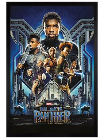 Framed Black Wooden Framed Character Montage - Black Panther