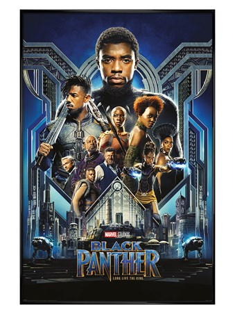 Gloss Black Framed Black Panther One Sheet - Long Live The King