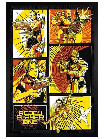 Black Wooden Framed Comic Panels - Ready Player One