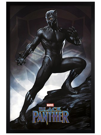 Black Wooden Framed Black Panther Stance - Marvel