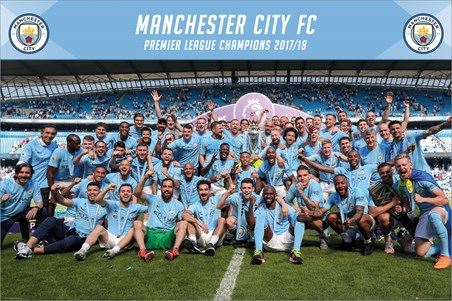 Framed Official Premier League Champions 17-18 - Manchester City