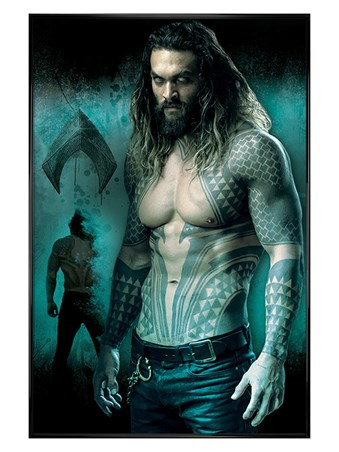 Gloss Black Framed Aquaman - Justice League