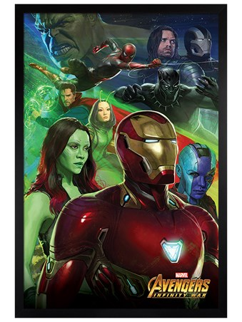 Black Wooden Framed Infinity War Iron Man - Avengers