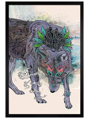 Black Wooden Framed Journeying Spirit - Wolf - Mat Miller