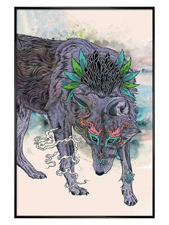 Gloss Black Framed Journeying Spirit - Wolf - Mat Miller