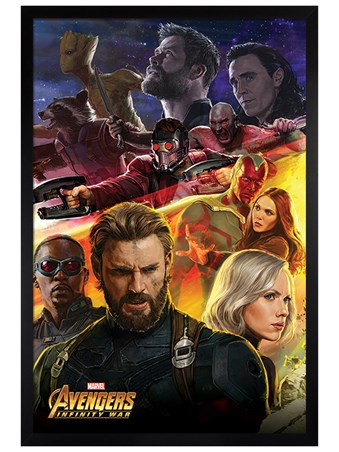 Framed Black Wooden Framed Infinity War Captain America - Avengers