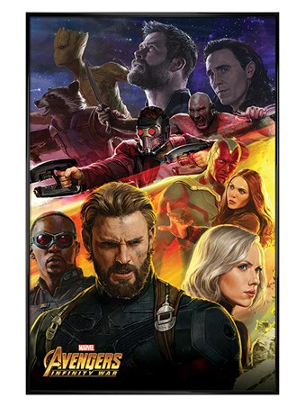 Gloss Black Framed Infinity War Captain America - Avengers