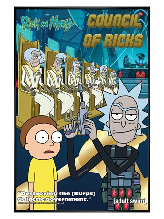 Gloss Black Framed Council Of Ricks - Rick and Morty