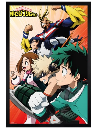 Black Wooden Framed Heroes - My Hero Academia