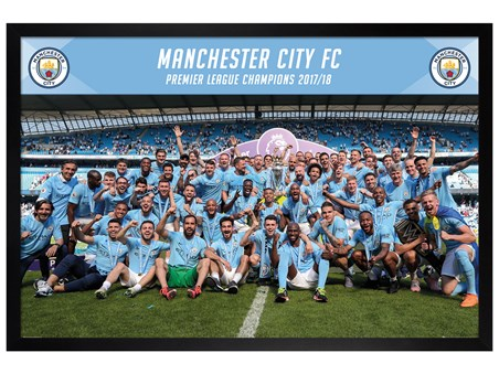 Framed Black Wooden Framed Official Premier League Champions 17-18 - Manchester City