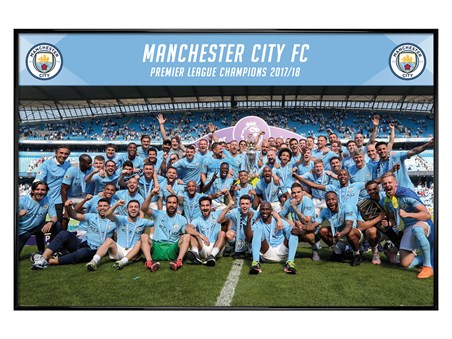 Framed Gloss Black Framed Official Premier League Champions 17/18 - Manchester City