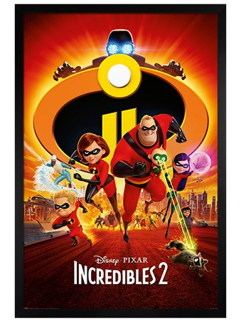Black Wooden Framed The Super Five To The Rescue! - Incredibles 2