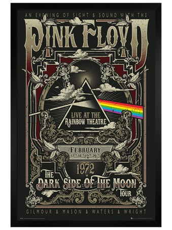 Black Wooden Framed Rainbow Theatre - Pink Floyd