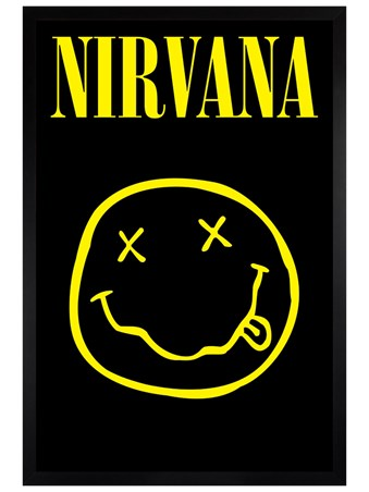 Black Wooden Framed Smiley - Nirvana