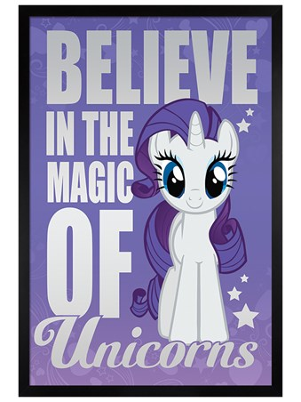 Black Wooden Framed Believe In The Magic Of Unicorns - My Little Pony