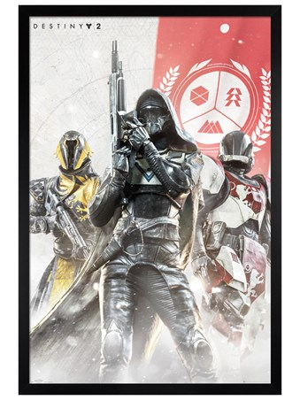 Framed Black Wooden Framed Hunter, Warlock and Titan - Destiny 2