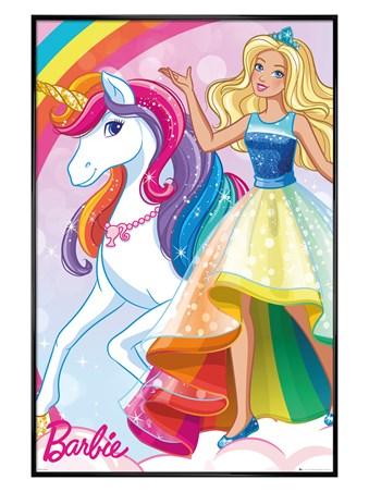 Gloss Black Framed Glittering Rainbow Unicorn - Barbie