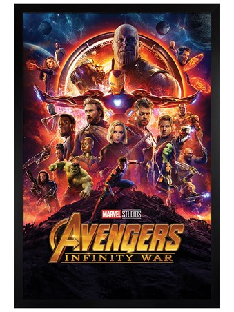 Black Wooden Framed Infinity War One Sheet - Avengers