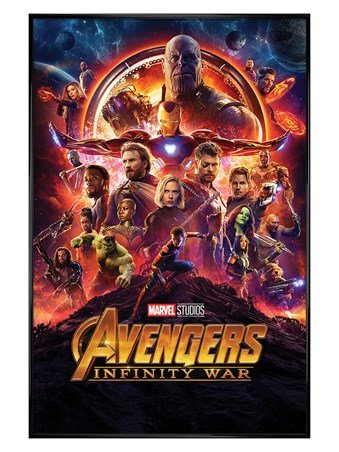 Framed Gloss Black Framed Infinity War One Sheet - Avengers