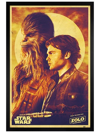 Black Wooden Framed Han and Chewie - Solo: A Star Wars Story