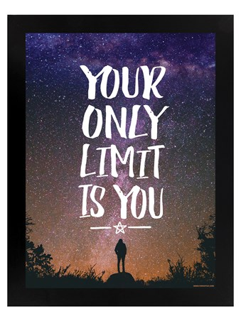 Your Only Limit Is You Black Wooden Framed Print - Reach For The Stars