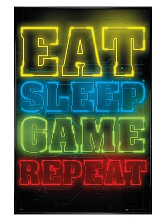 Gloss Black Framed Eat Sleep Game Repeat - Gaming