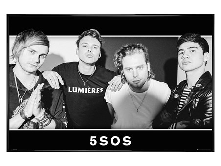 Gloss Black Framed Group Black and White - 5 Seconds Of Summer Group