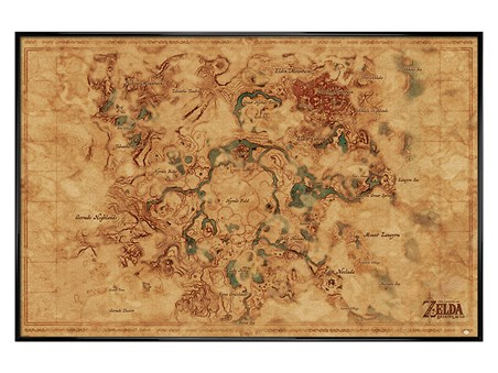 Gloss Black Framed Breath Of The Wild Hyrule World Map - The Legend Of Zelda