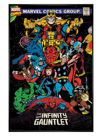 Gloss Black Framed The Infinity Gauntlet Retro - Marvel