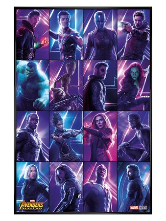 Gloss Black Framed Infinity War Heroes - Avengers