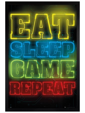 Black Wooden Framed Eat Sleep Game Repeat - Gaming