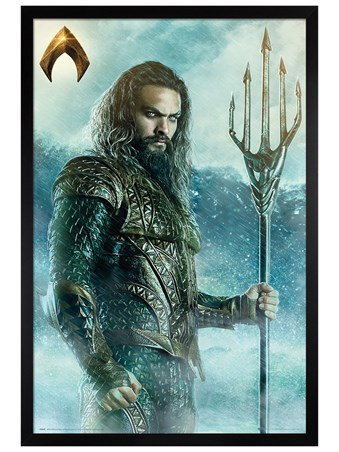 Black Wooden Framed Aquaman Trident - Justice League of America