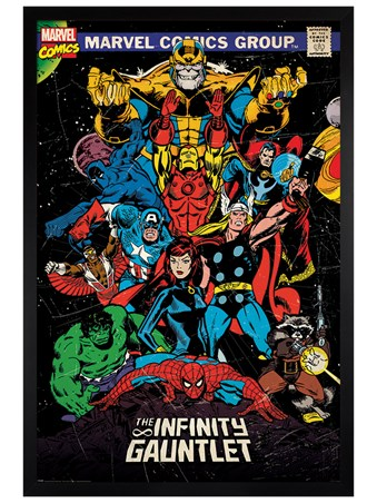 Black Wooden Framed The Infinity Gauntlet Retro - Marvel
