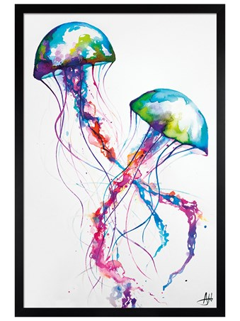 Black Wooden Framed Jellyfish Framed Poster