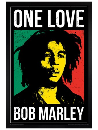 Black Wooden Framed One Love, Bob Marley