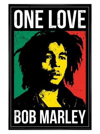 Gloss Black Framed One Love, Bob Marley