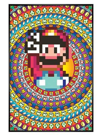 Gloss Black Framed Power Ups - Super Mario