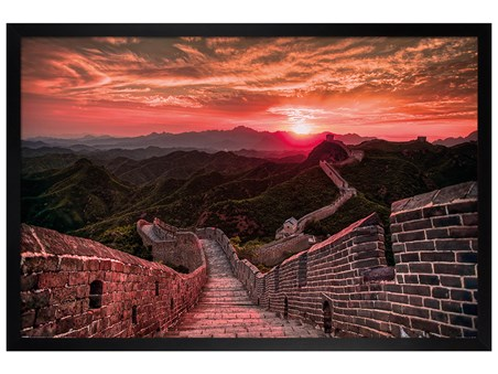 Black Wooden Framed Sunset - The Great Wall Of China