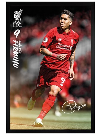 Black Wooden Framed Firmino 18-19 - Liverpool