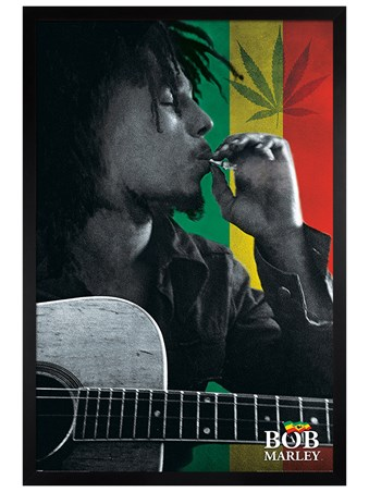 Black Wooden Framed Smoke - Bob Marley