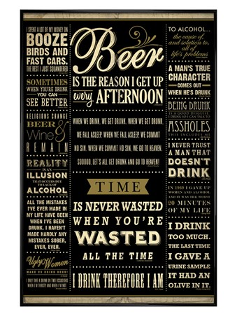 Gloss Black Framed Drinking Quotes - Words Of Wisdom