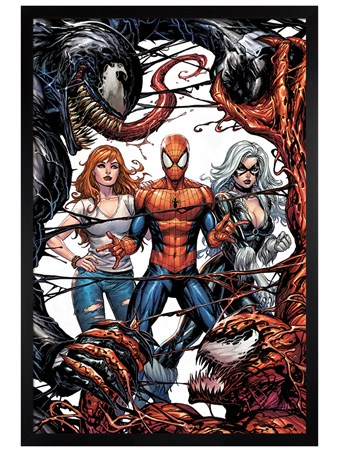 Black Wooden Framed Venom and Carnage fight - Venom