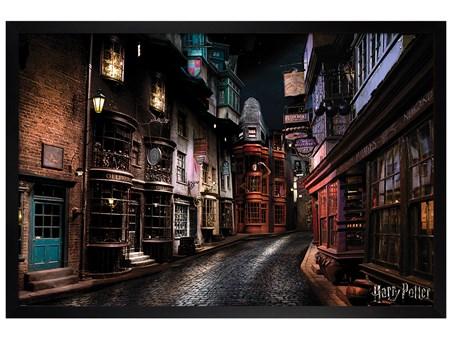 Black Wooden Framed Harry Potter Diagon Alley -