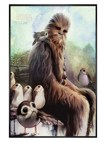 Gloss Black Framed The Last Jedi Chewbacca & Porgs - Star Wars