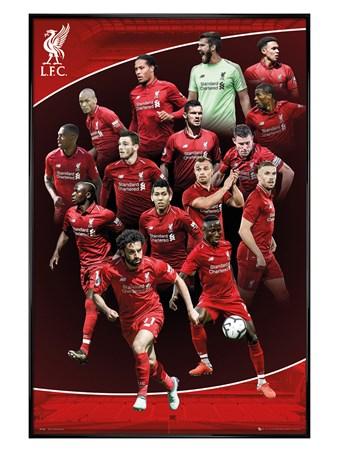 Gloss Black Framed Team Photo - Liverpool FC